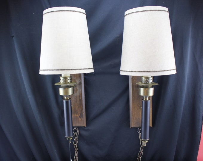 "Pair Vintage Edwards ""Sconceshade"" Hang Anywhere Wall Sconce Lighting Wood and Brass Bedroom Lights"