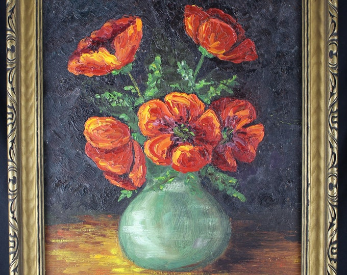 Vintage original Oil Painting on Board Orange Poppies Still Life M Netluch 1969