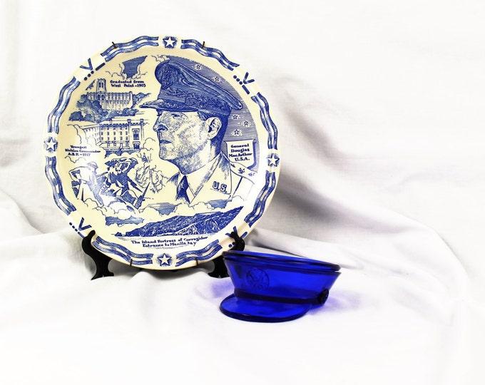 Vintage-Vernon Kilns-General Douglas Mac Arthur-Comemoratave Plate With Blue Glass Ashtray/Coaster=Circa. 1940's