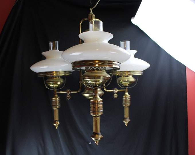 Vintage Glass and Brass Hanging Student Three Arms White Shades Electric Chandelier Lighting