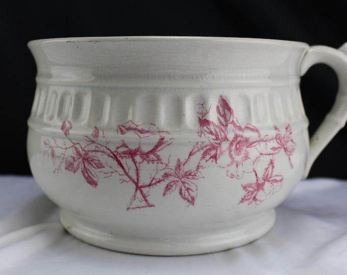 Antique Ironstone China TEPPCO Chamber Pot Pink Flowers