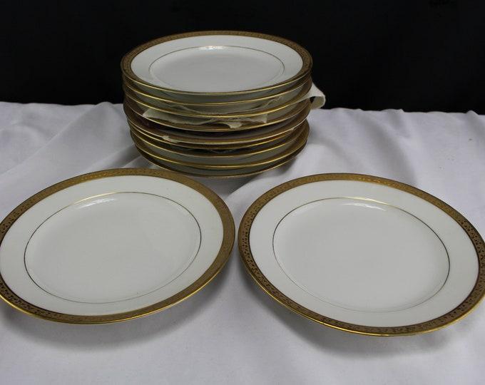Antique Limoges Porcelain Saucers White Gold Trim Green A & D Mark 11 plates