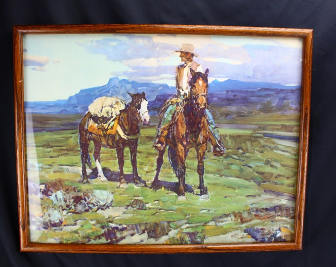 """Vintage Lithograph Print """"Life On The Trail"""" Frank Tenney Johnsom (1934-1974) Cowboy Western"""