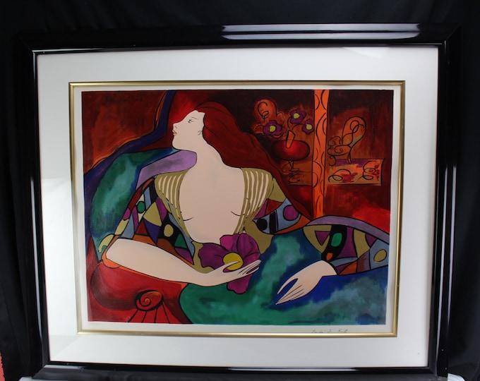 "Fine Art Linda Le Kinff ""Lea Chambre Rouge"" Serigraph S/N COA Woman Meidum"