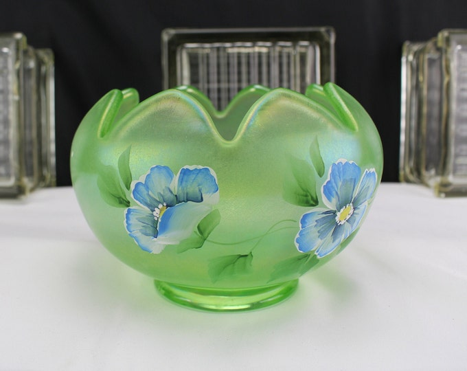 "Fenton Art Glass Rose Bowl-Green Apple-Pansy Morning-Hand Painted 4 1/2"" Tall"