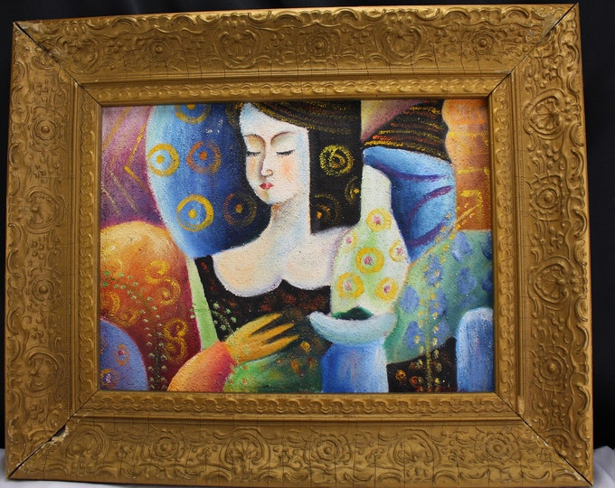 "Vintage Painting ""Picasso Styled"" Woman Signed P. COFFARO Home Decor"