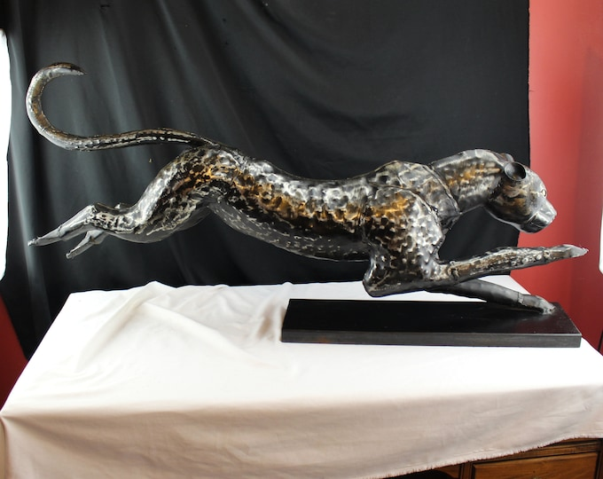 Mid Century Brutalist Welded Metal Running Cheetah Sculpture Statue Large Ca