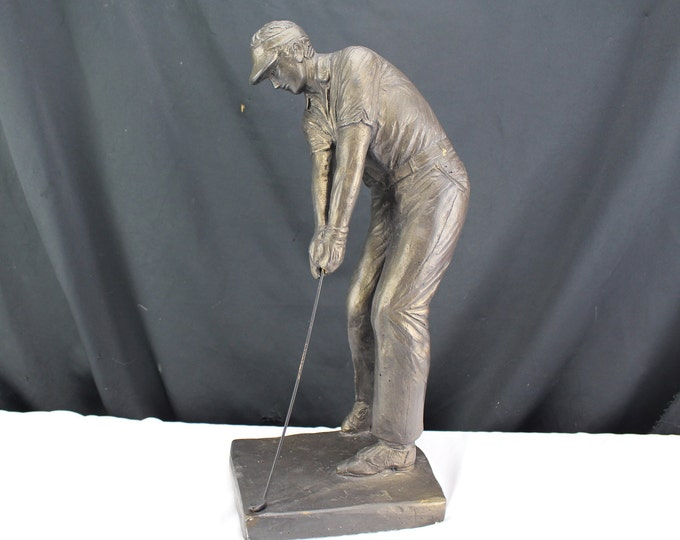 Austin productions Art Deco Golfer Man Golf Driver Statue Sculpture 1973 Signed