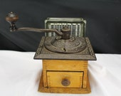Antique Hand Crank BOX MILL Cast Iron Coffee Grinder Original Wood Finish Working