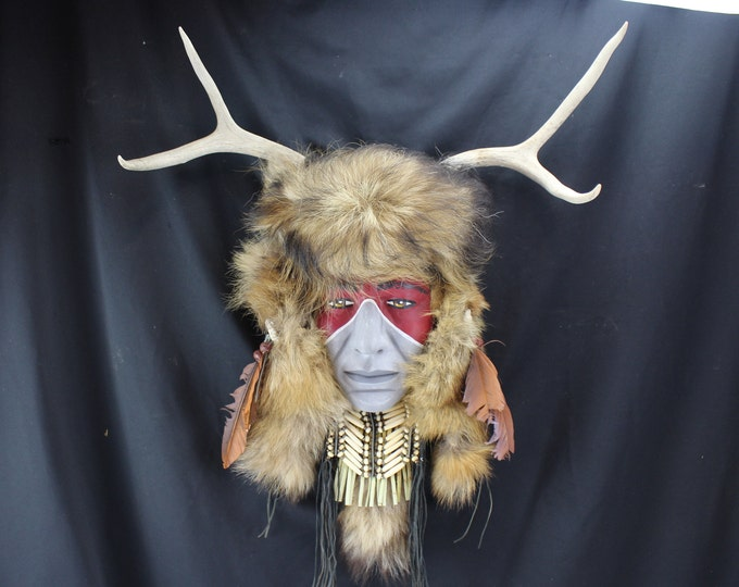 Wall Hanging Native American Brave in Makeup and Fur Headdress Deer Antlers-Handmade Carved Wood Mask