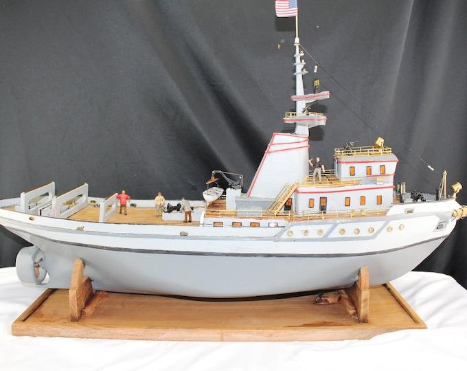 "Folk Art Hand Built Model WWII Naval War Ship 32"" long Military Collectible"