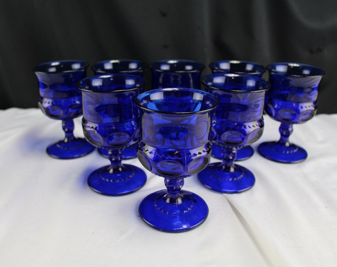 Vintage Tiara Glass Kings Crown Thumbprint Cobalt Liquor Glasses/Goblets - 8 of the small size