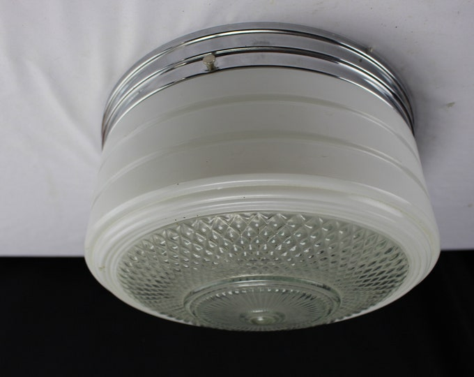 Ceiling Light- Kitchen - Chrome & Glass Ceiling Shade-50's/70's Ceiling Light Fixture