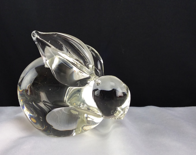 Vintage Crystal Glass Paperweight Figurine Rabbit Office Desk Home Decor