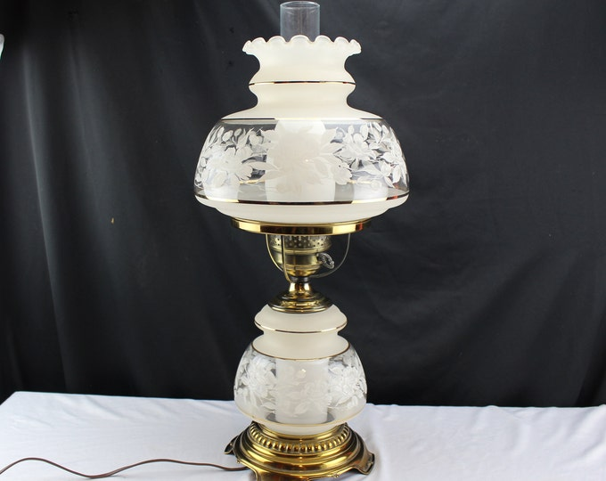 "Quoizel C266BA 4 1/8 Satin Lace 24"" Tall Student Hurricane Lamp with Night Light"