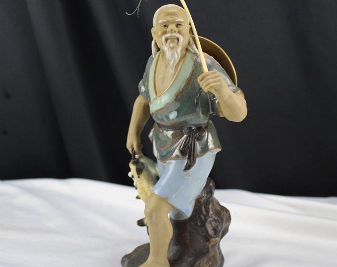 Vintage Mudman Chinese Fisherman Pottery Miniature Figurines Asian Decor