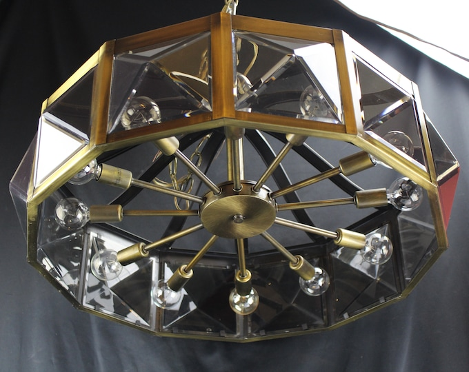 Vintage Hanging Ceiling Light Fixture Atomic Era Style Smokey Cubes 12 Lights and Brass 70's Retro