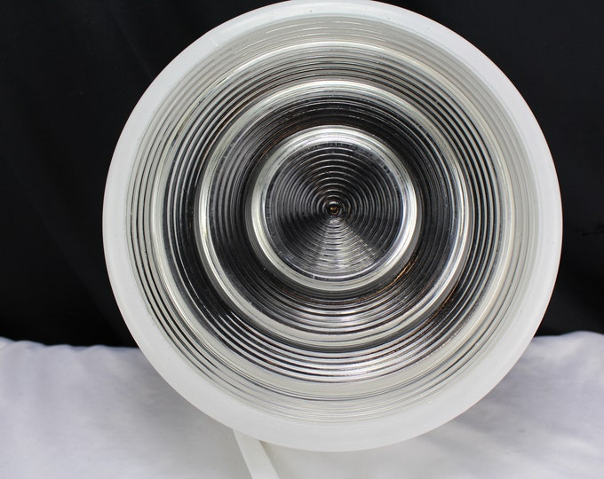 "Kitchen/Bathroom -Glass Clear and White Ceiling Drum Style Shade Mid Century 10"" fitter"