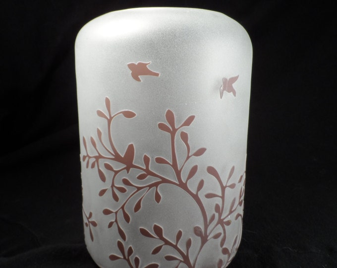 Vase-Frosted and Purple Glass Vase-Purple Cut To Clear Frosted Glass Vase Vines and Birds