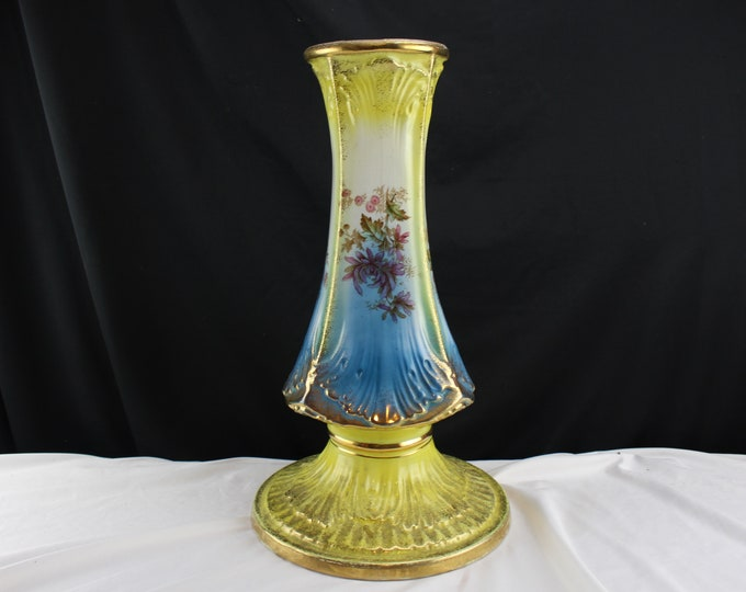 Antique Oliver China Company Verus Porcelain Jardiniere stand Blue and Yellow Pink Flowers Sponge Gold