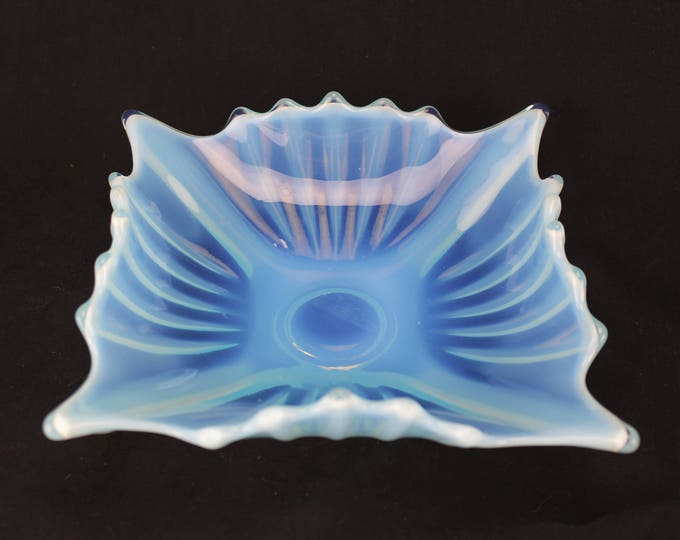 Fostoria Glass Heirloom 2720/168 Crinkle Bowl Blue Opalescent Circa 1959-62 Collectible Art Glass