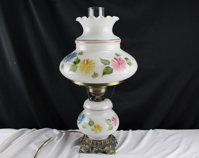 Vintage Gone With The Wind Style Electric Lamp Milk Glass Pink Blue Yellow