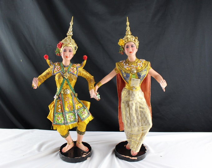 "18"" Life Like Thai Siamese Dancers Figurines Composite with Rubber Coating Asian decor"