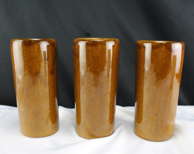 Pottery-J J Van Briggle Pottery Colo Springs-3 Tall Ice Tea Glass, Drinking Tumbler Brown and Gold Crackle Glaze