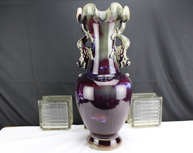 """21"""" Contemporary Chinese Pottery Vase Two Handles Dragons Copper Glaze Eggplant Colored"""