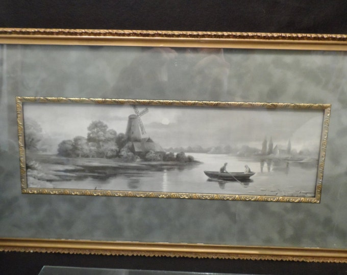Antique Print and Frame-Black and White print two people in a Rowboat with a Windmill-Gold Guilt Gesso Frame-Tutt Estate