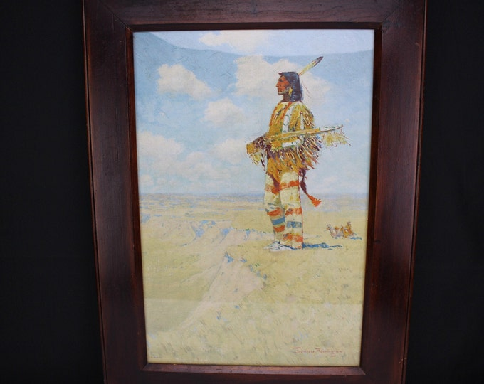 "Very Rare Oleograph Print Frederic Remington 1908 ""Last Of His Race"" Western Art"