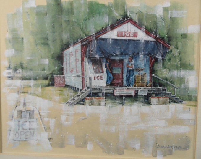 Fine Art Watercolor with Whitewash, Jordan Abeshouse 1923-89 Ice House