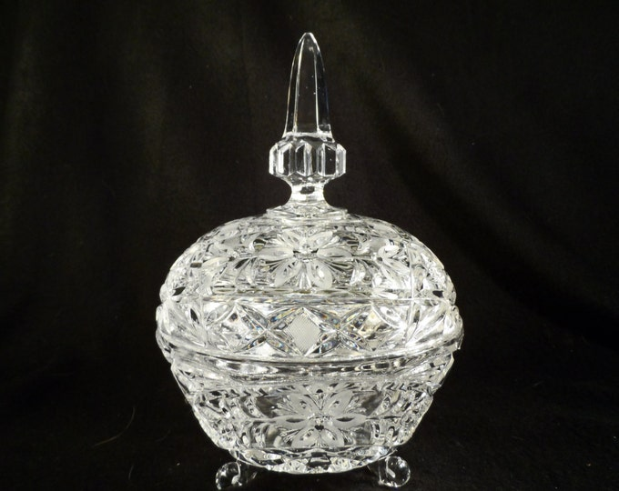 Crystal Glass Covered Candy Bowl-Cut and Pressed Glass Ice Bucket-3 footed covered bowl finnel top