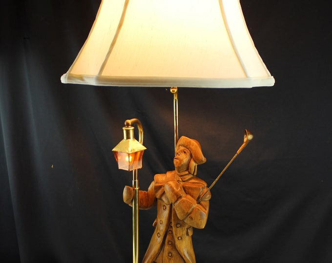 Vintage Table Lamp Carved Wood Colonial Times Lamplighter Man Figurine Lighting