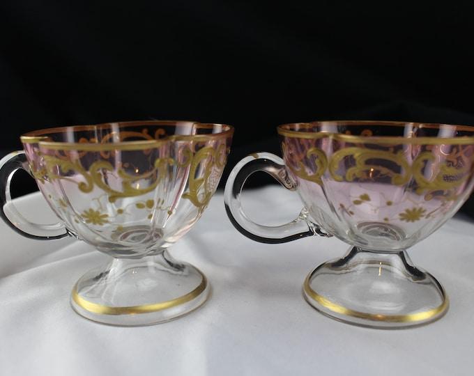 Antique Pair Moser Quatrefoil Clear to Cranberry Gold Gilt Tea Cups-Vintage Pink Glass Demitasse Cups Bohemian Glass