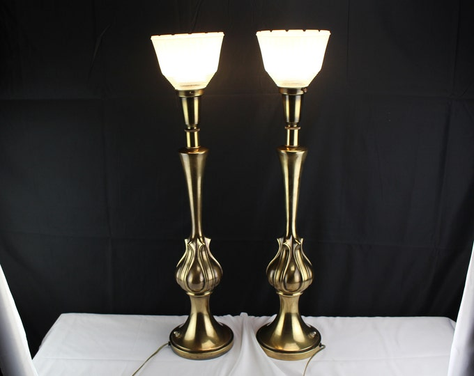 Pair Vintage Solid Brass Rembrandt Masterpiece Torchiere Table Lamps Bulb Base