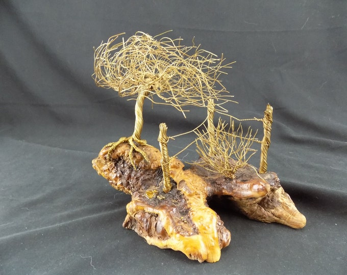 Drift Wood and Brass Wire Art Sculpture Brass tree and fence on natural wood base