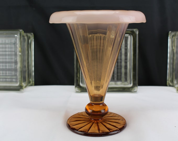 Antique-Vintage Dugan Glass Amber and Pink Opalescent Rolled Edge Vase