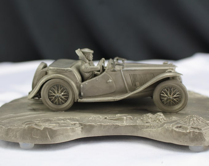 Taking The Curve-Raymond Meyer Pewter Sculpture-Car MG/TC-Sports Car Club of America