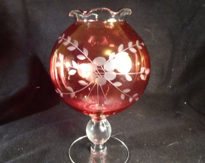 Cranberry Etched Ball Vase-Red Flash Glass Footed Bowl Vase-Ruby Red Glass, Etched Ball Vase-Pedestal Bulb Vase