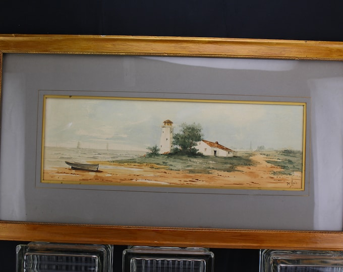 """Late 19th early 20th c. Medium Watercolor Seascape Lighthouse Painting signed """"H. Amie"""""""