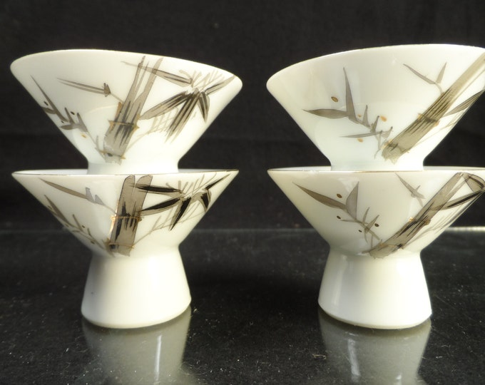 Sake cups-Nashikawa fine wood fired bone china Bamboo Sake cups-Japanese Bone China Sake cups