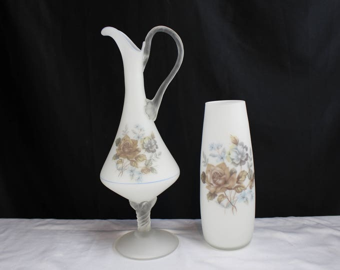 Matching Set Empoli Glass Pitcher and Vase Frosted White with Flowers