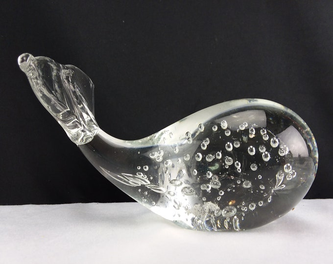 Controlled Bubble Clear Crystal Glass Paperweight Whale Figurine Office Decor