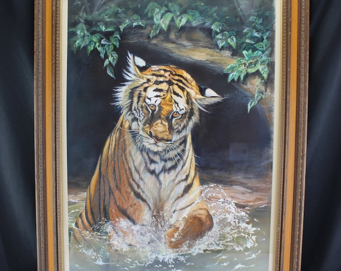 "Original Pastel Drawing Bengal Tiger Large Cat ""Where'd It Go"" Linda Harris 22"" x 28"""