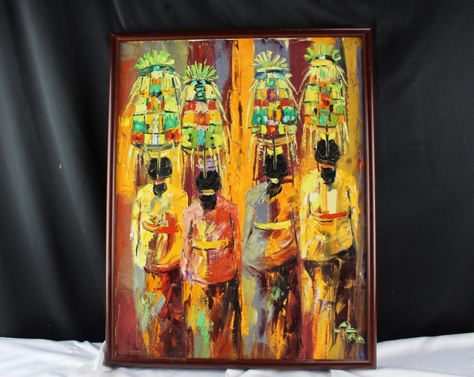 Vintage Oil on Canvas Impressionist Painting Ubud Indonesia Kaswan Javanese Oranges