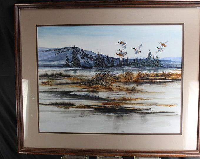 Vintage Original Watercolor Painting Large Landscape and Wildlife Sam Van Dyken