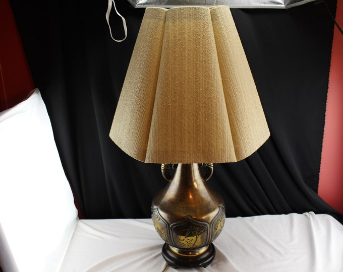 Ethan Allen urn Shaped Brass Elephant Handle Lamp With Heavy Cloth Shade-Asian Decor India