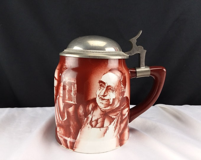 Antique American Beer Stein Monk by Manning Bowman c.1897 Red lidded