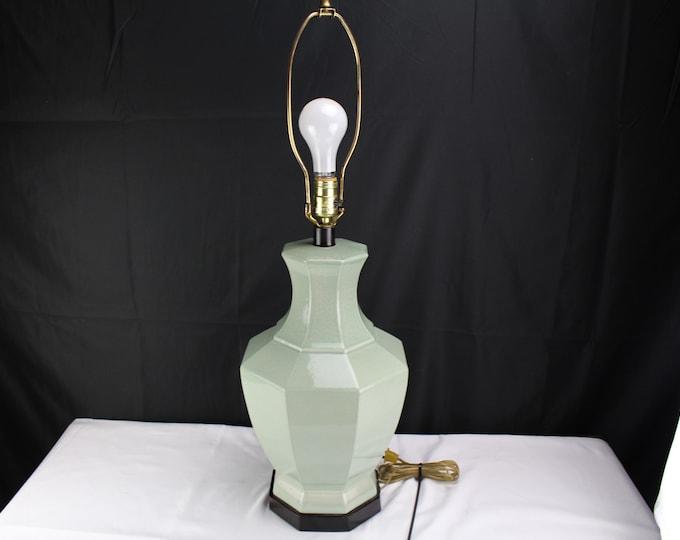 Paul Hanson Table Lamp Celadon Green Ceramic Asian Style Decor